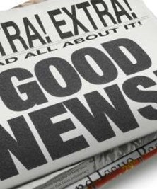 "A folded in half newspaper with ""EXTRA! EXTRA! GOOD NEWS!! printed on the front. CC BY SA NC,  Leyla Dot A On Flickr"